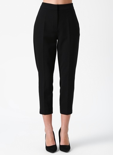 Random Kısa Paça Kumaş Pantolon Siyah